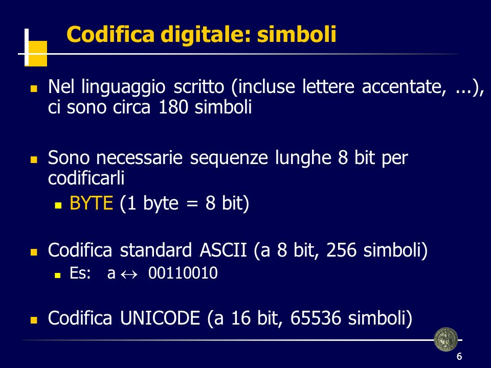 Codifica digitale: simboli