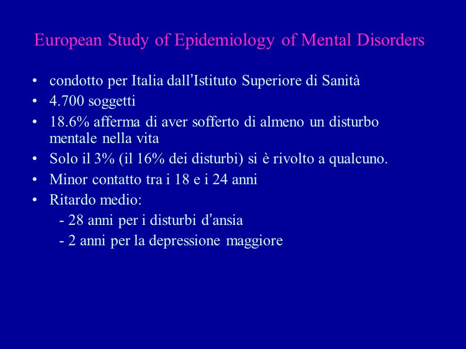 European Study of Epidemiology of Mental Disorders