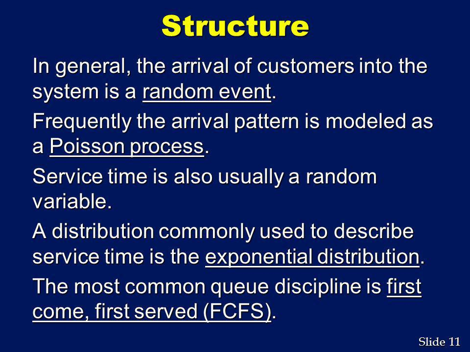 Structure In general, the arrival of customers into the system is a random event. Frequently the arrival pattern is modeled as a Poisson process.