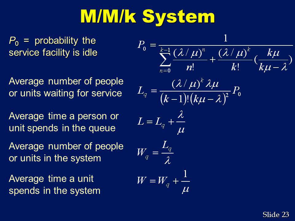 M/M/k System P0 = probability the service facility is idle