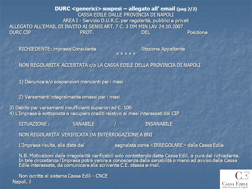 DURC <generici> sospesi – allegato all' email (pag 2/2)