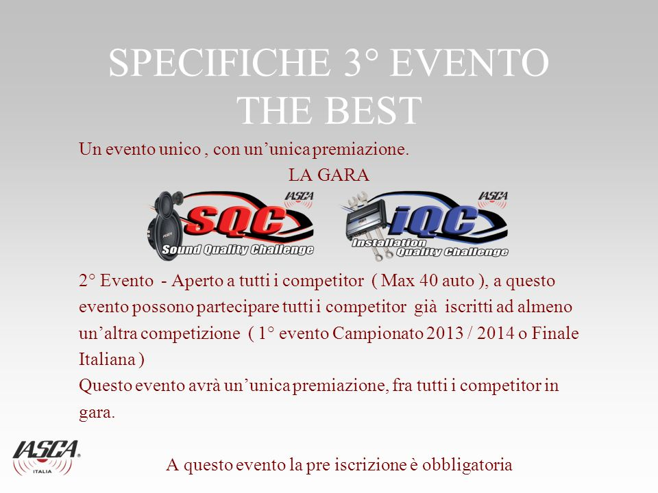 SPECIFICHE 3° EVENTO THE BEST