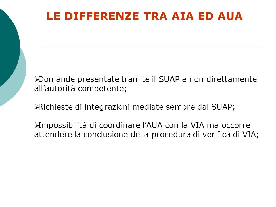 LE DIFFERENZE TRA AIA ED AUA
