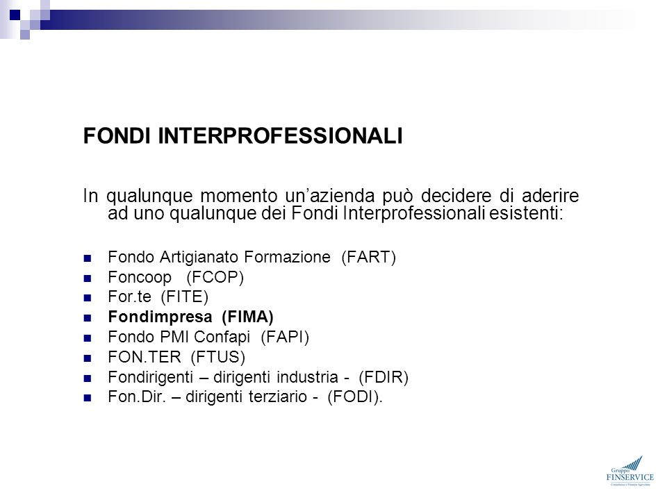 FONDI INTERPROFESSIONALI