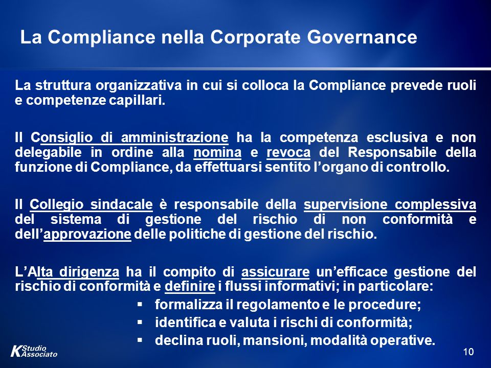 La Compliance nella Corporate Governance