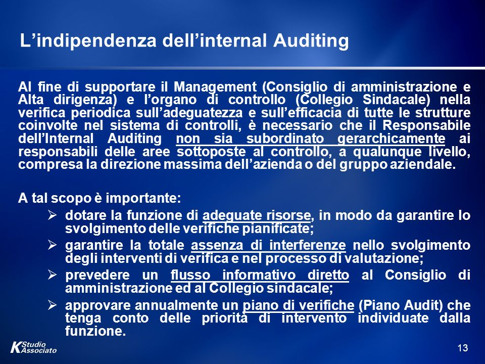 L'indipendenza dell'internal Auditing