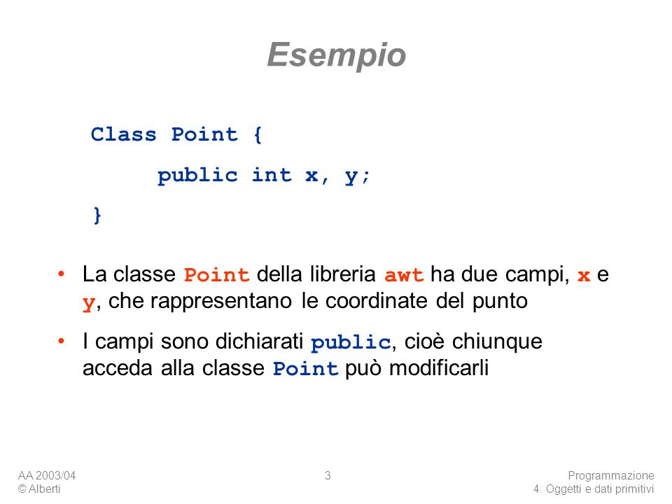 Esempio Class Point { public int x, y; }