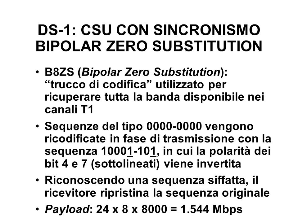 DS-1: CSU CON SINCRONISMO BIPOLAR ZERO SUBSTITUTION