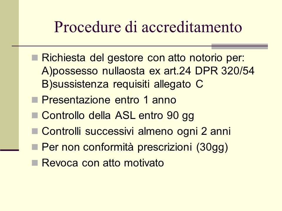 Procedure di accreditamento