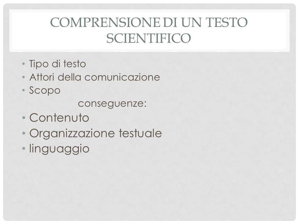 Comprensione di un testo scientifico
