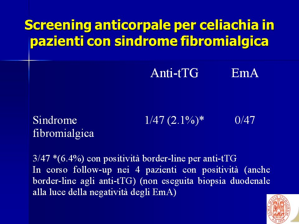 Screening anticorpale per celiachia in pazienti con sindrome fibromialgica