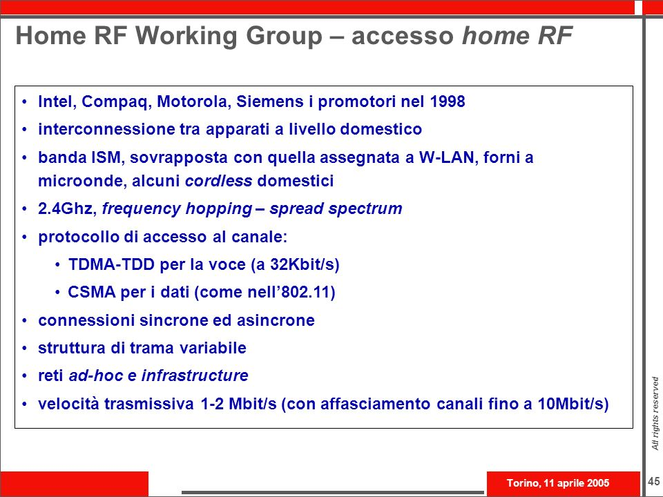 Home RF Working Group – accesso home RF