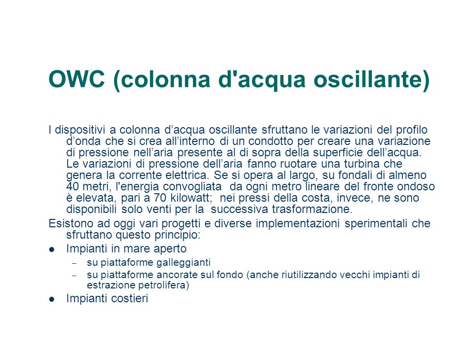OWC (colonna d acqua oscillante)