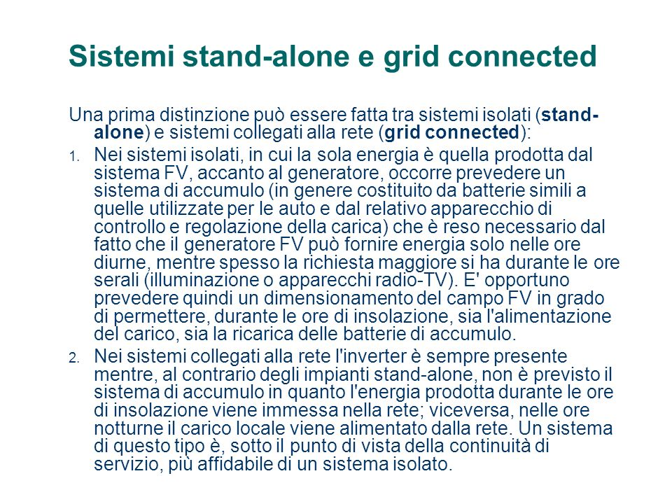 Sistemi stand-alone e grid connected