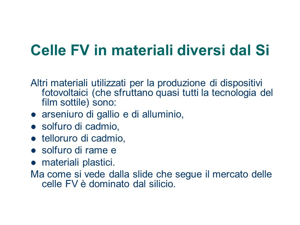 Celle FV in materiali diversi dal Si