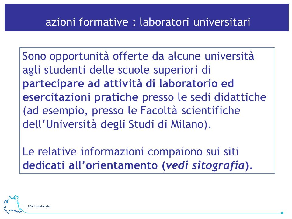 azioni formative : laboratori universitari