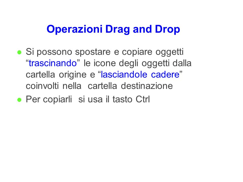 Operazioni Drag and Drop