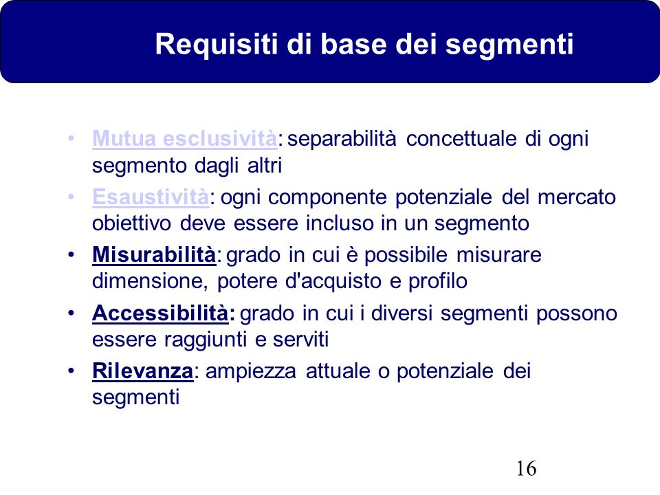 Requisiti di base dei segmenti