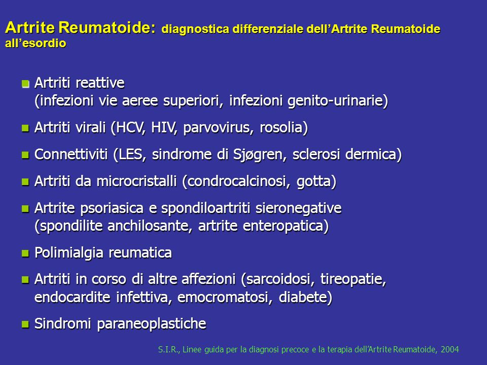 Artrite Reumatoide: diagnostica differenziale dell'Artrite Reumatoide all'esordio