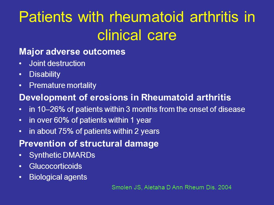Patients with rheumatoid arthritis in clinical care