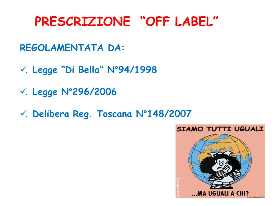 PRESCRIZIONE OFF LABEL