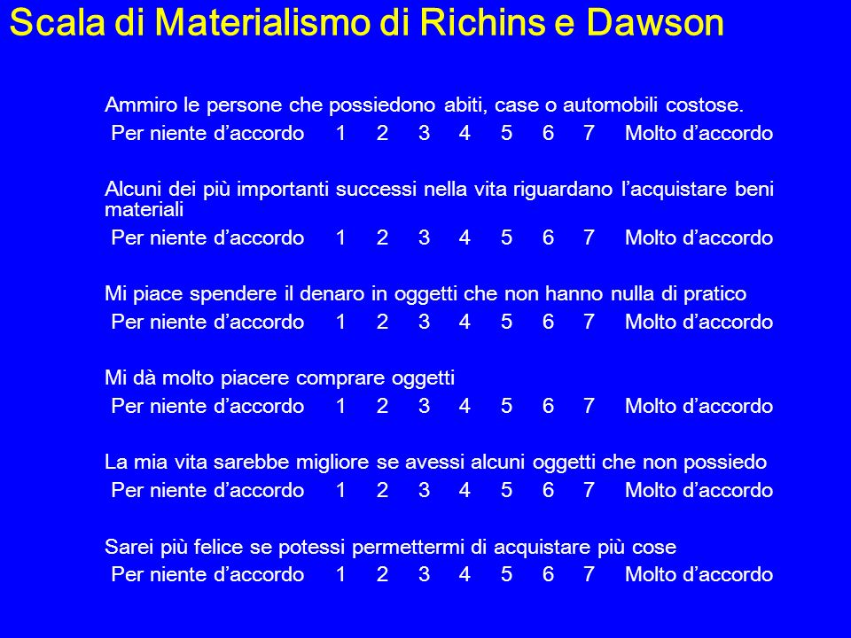 Scala di Materialismo di Richins e Dawson