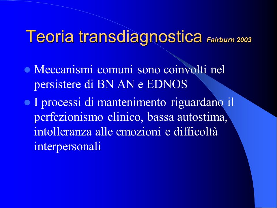 Teoria transdiagnostica Fairburn 2003