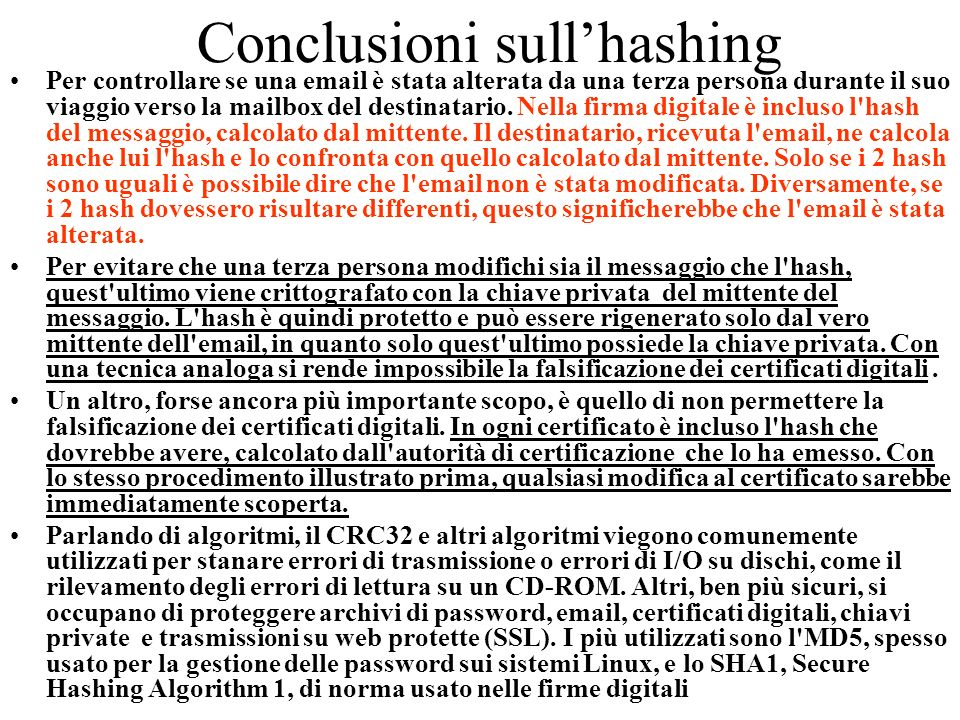 Conclusioni sull'hashing