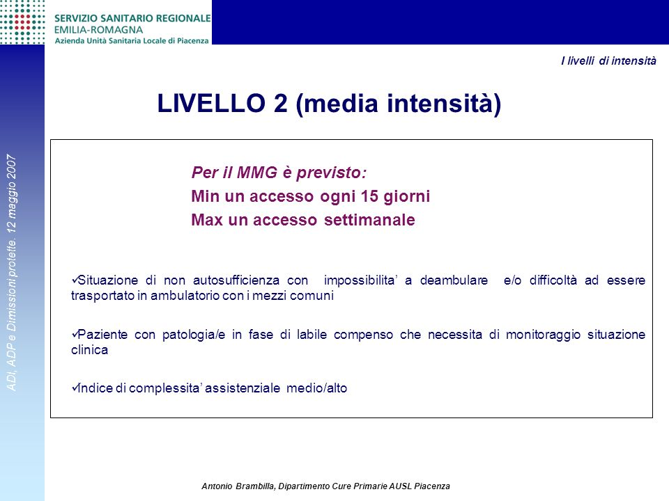 LIVELLO 2 (media intensità)