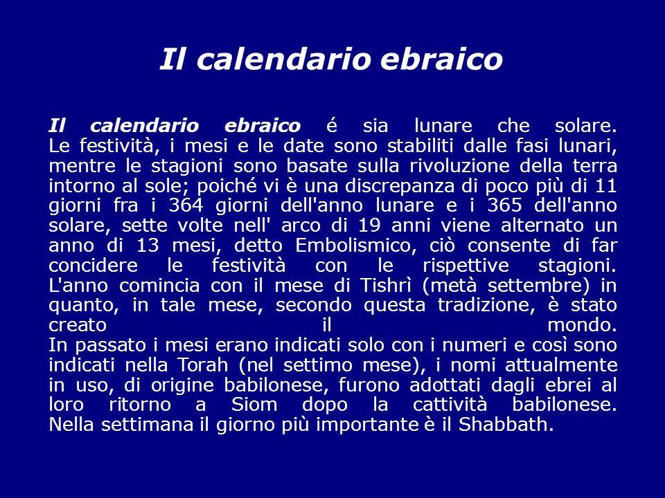 Calendario Ebreo.Il Calendario Ebraico Tishri Settembre Ottobre Chesavan