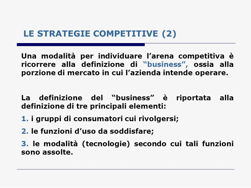 LE STRATEGIE COMPETITIVE (2)