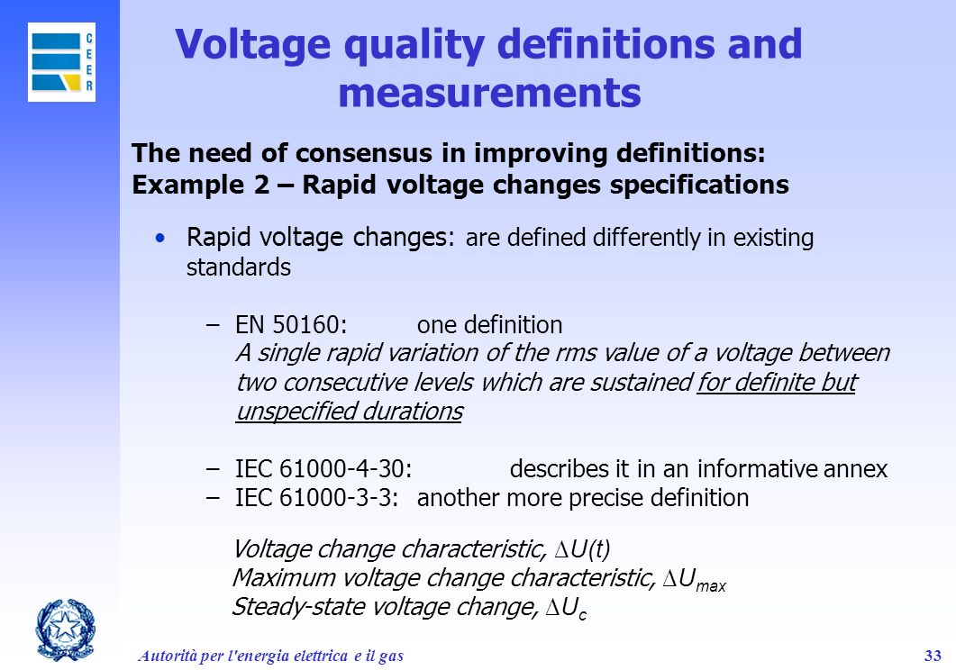 Voltage quality definitions and measurements