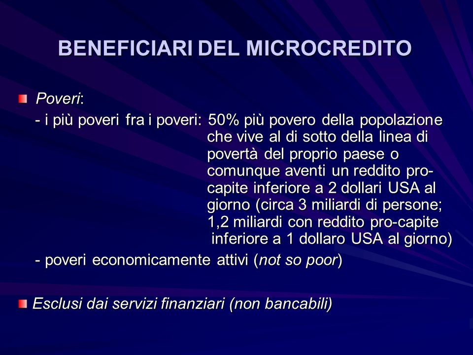 BENEFICIARI DEL MICROCREDITO