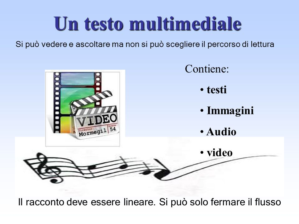 Un testo multimediale Contiene: testi Immagini Audio video
