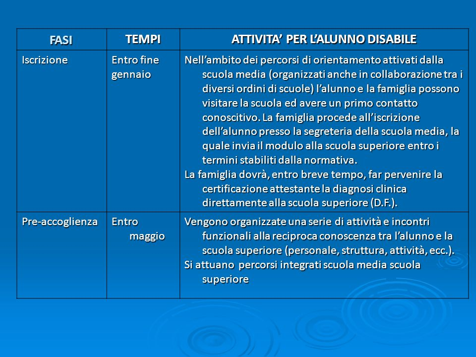 ATTIVITA' PER L'ALUNNO DISABILE