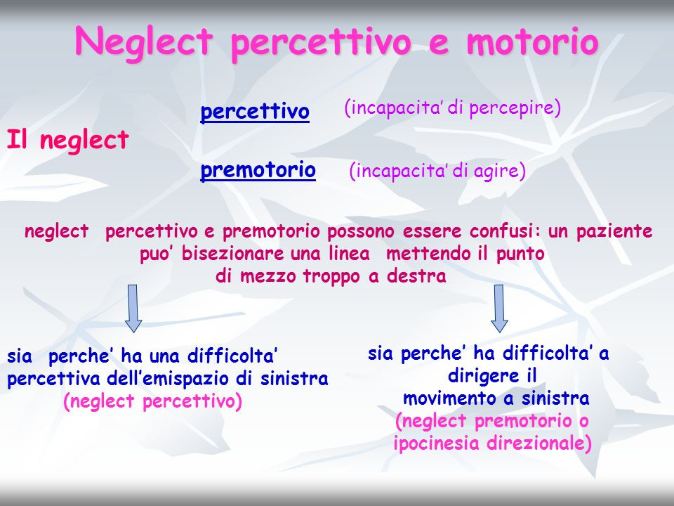 Neglect percettivo e motorio