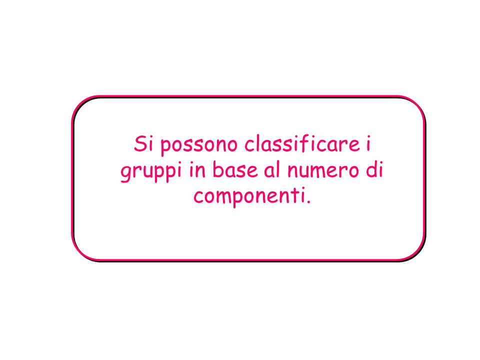 Si possono classificare i gruppi in base al numero di componenti.