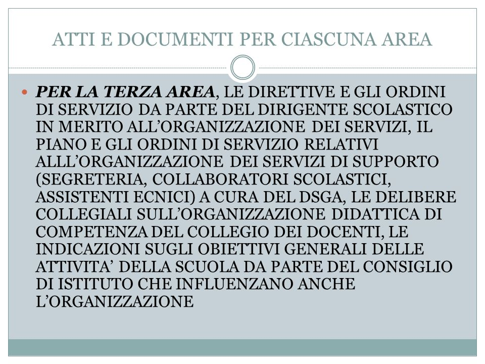 ATTI E DOCUMENTI PER CIASCUNA AREA
