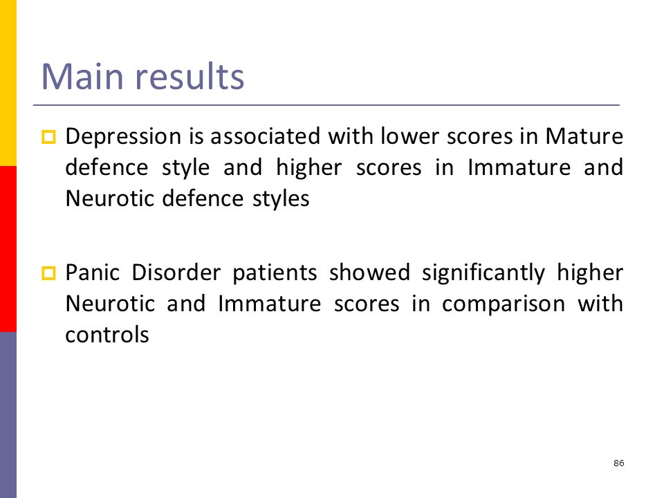 Main results Depression is associated with lower scores in Mature defence style and higher scores in Immature and Neurotic defence styles.
