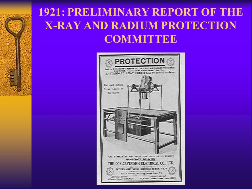 1921: PRELIMINARY REPORT OF THE X-RAY AND RADIUM PROTECTION COMMITTEE
