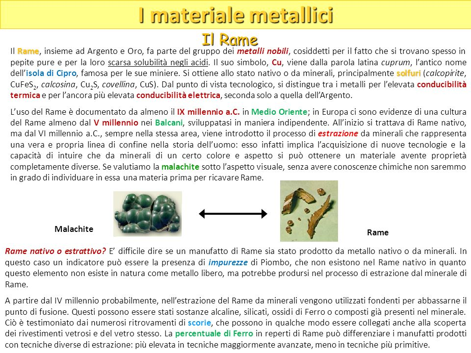 I materiale metallici Il Rame