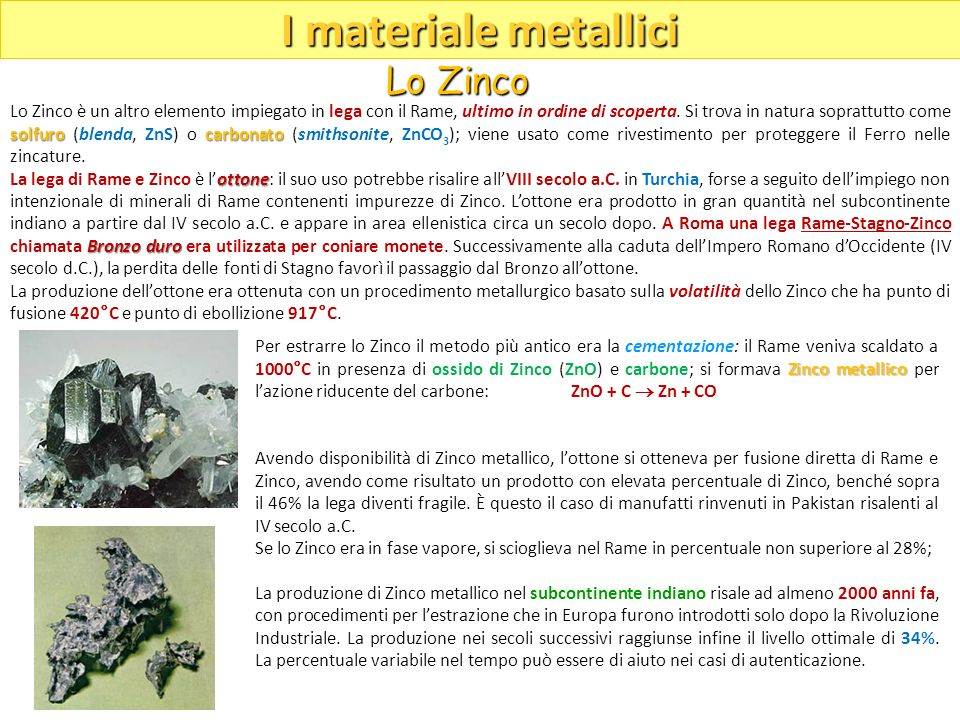I materiale metallici Lo Zinco