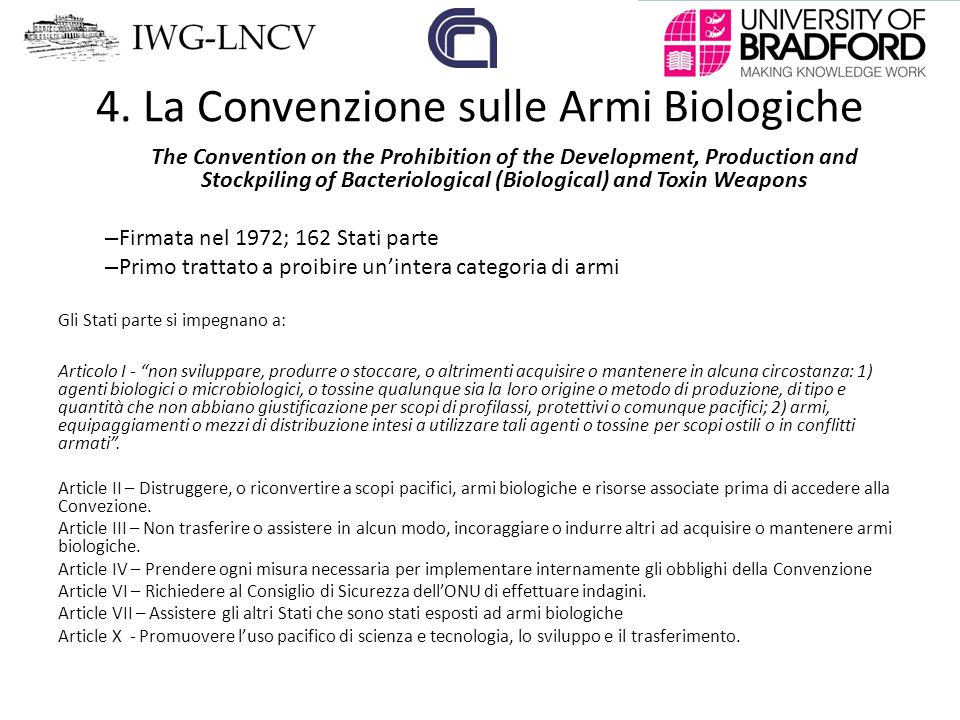 """Risultato immagini per La Convenzione sulle armi biologiche (Convention on Biological Weapons – BWC) v"""""""