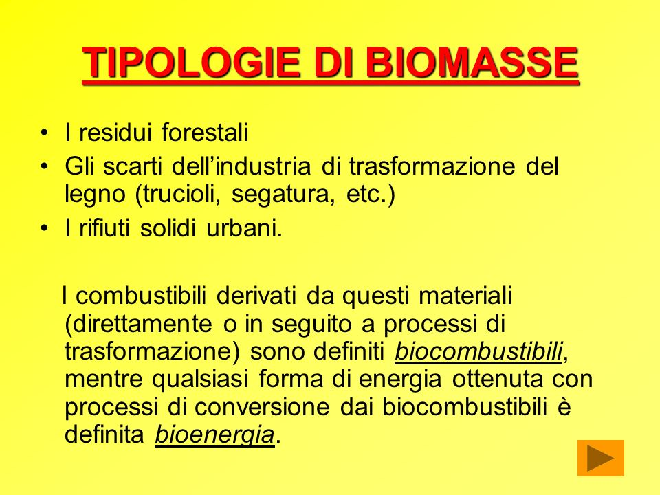 TIPOLOGIE DI BIOMASSE I residui forestali