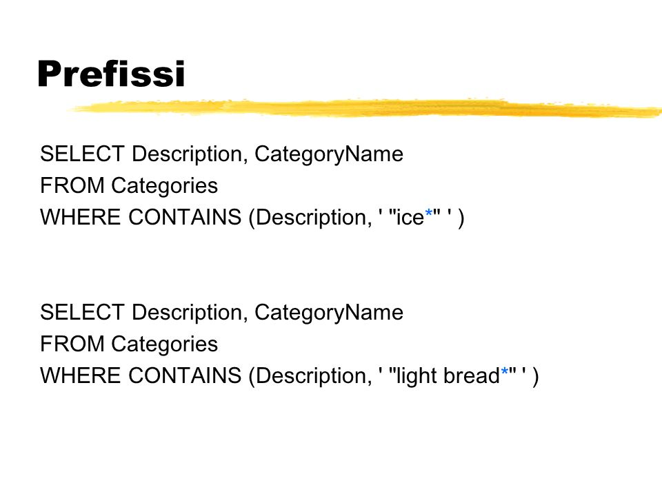 Prefissi SELECT Description, CategoryName FROM Categories
