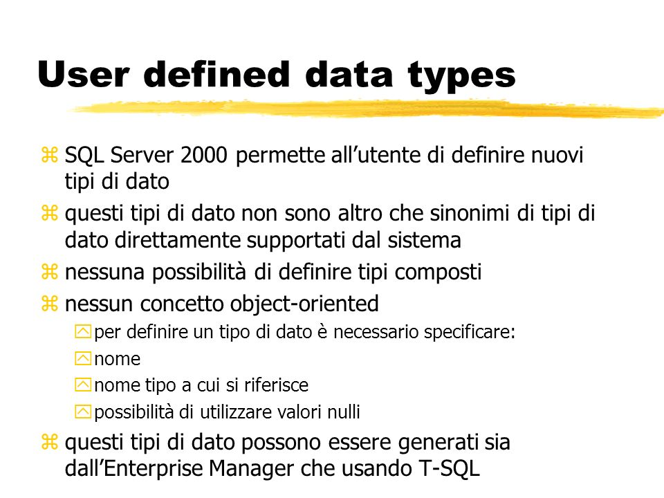 User defined data types