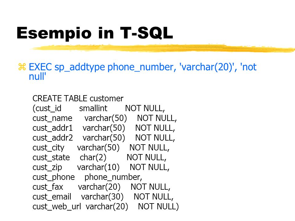 Esempio in T-SQL EXEC sp_addtype phone_number, varchar(20) , not null CREATE TABLE customer. (cust_id smallint NOT NULL,