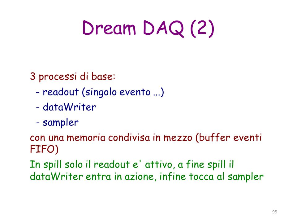 Dream DAQ (2)‏ 3 processi di base: - readout (singolo evento ...)‏