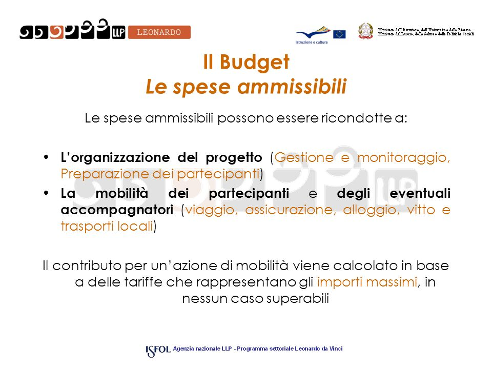 Il Budget Le spese ammissibili