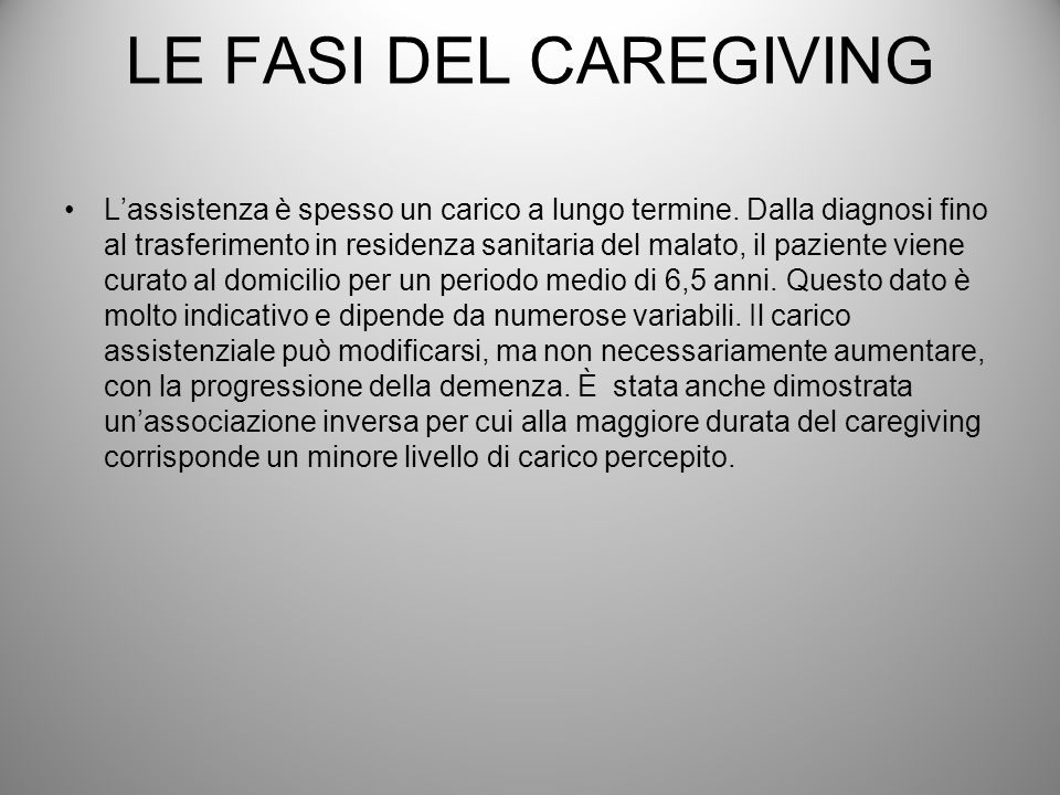 LE FASI DEL CAREGIVING
